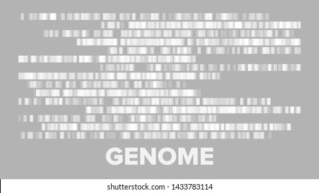 Horizontal Big Genomic Data Visualization Vector. Dna Test, Barcoding, Genomic Map Architecture. Medical Chromosome Analysis Graphic Bioinformatic Diagram Monochrome Template Flat Illustration