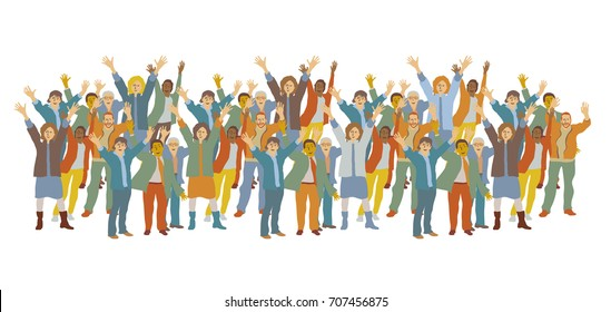 Horizontal big group happy people. Color vector illustration. EPS8