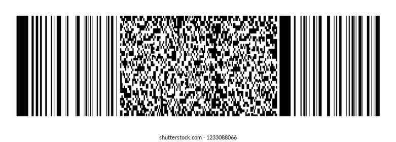 horizontal black bar code and qr code on white for pattern,background and design,vector illustration.