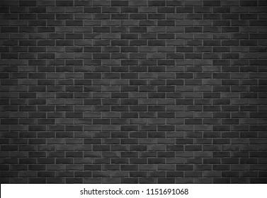 Horizontal black brick wall with shadow, vector eps10 illustration
