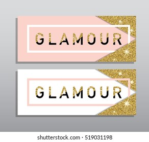 Horizontal Black Pink and Gold Banners Set,  Card Design. Golden Dust. Vector Illustration. Invitation Template.