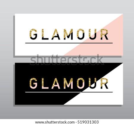 Horizontal Black Pink Gold Banners Set Stock Vector Royalty Free