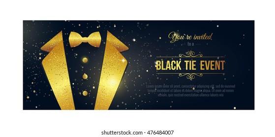 Horizontal Black Tie Event Invitation.  Elegant black  card with golden sparkles.  Black banner with businessman suit. Vector illustration