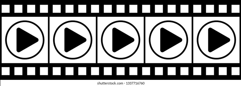 horizontal black and white filmstrip for pattern and background.