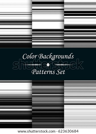 horizontal black and white stripes abstract background stretched pixels effect seamless patterns set
