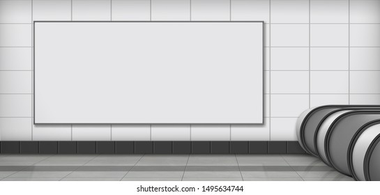 Horizontal, blank white, empty billboard hanging on tilled wall on subway station, mall or shopping center corridor 3d realistic vector illustration. Product advertising, promoting in public place
