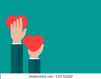 Horizontal blue background with hands holding red hearts. charity, philanthropy, support, giving, help, love concept. Flat vector illustration.