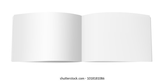 Horizontal book booklet or magazine mock up. Template of opened notepad with blank pages isolated on white background. Vector realistic illustration