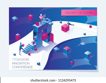 Horizontal booklet or flyer card with isometric letter A and people building it. Concept bright illustration in blue and pink drawn with vivid gradients