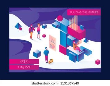 Horizontal booklet or flyer with large letter E made with isometric boxes and elements. People talking about innovation and electronic future. Bright illustration drawn with vivid gradients