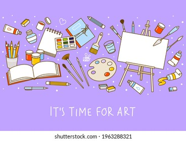 Horizontal border with art supplies on purple background - easel, paints, watercolor, palette, sketchbooks, brushes, drawing pencils - cartoon objects for happy art design