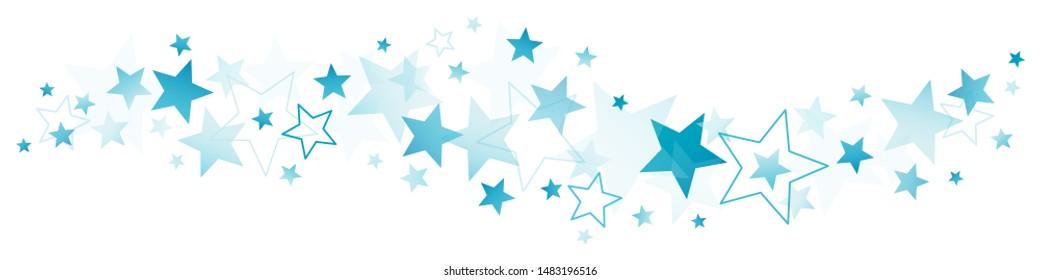 Horizontal Border Of Blue Big And Little Stars
