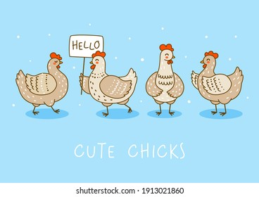 Horizontal border with cute chickens on blue - cartoon hens characters for happy farm design