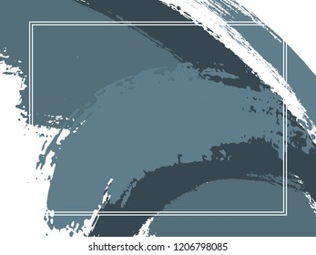 Horizontal border with paint brush strokes background.  Distressed design template for card. Vector border rectangular frame with colorful painted ink brushstrokes watercolor texture.