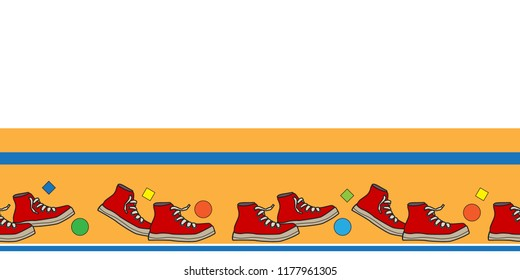 horizontal border shoes repeatable kids footwear banner