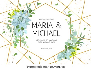 Horizontal botanical vector design frame. Baby blue eucalyptus, succulents, green hydrangea, wildflowers, greenery, leaves, herbs. Natural spring wedding card. Gold line art. All elements are isolated