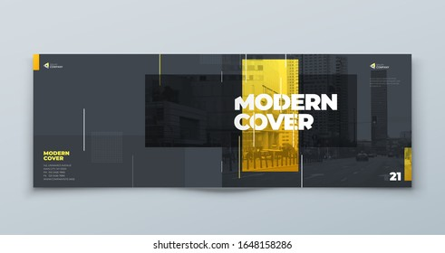 Horizontal Brochure Template Layout Design. Landscape Corporate Business Annual Report, Catalog, Magazine, Flyer Mockup. Creative Modern Bright Concept with Linw Shapes. Vector
