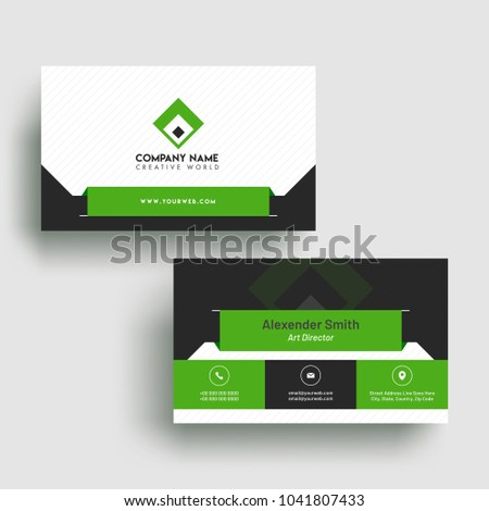 horizontal business card with front and back presentation