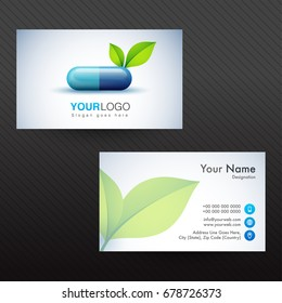Horizontal Business Card, Visiting Card or Name Card with illustration of capsule pill and green leaves for Health and Medical concept.