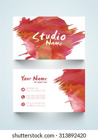 Horizontal business card or visiting card with splash.