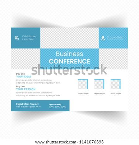 horizontal business conference brochure flyer design stock vector