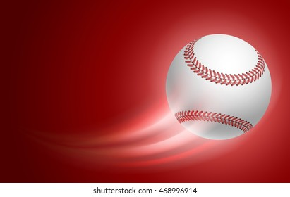Horizontal Card for Baseball Club with Flying Baseball Ball on blue Background. Realistic Editable Vector Illustration.