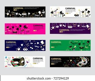 Horizontal carnival web banner masks celebration festive carnaval masquerade background festival flyer vector illustration.