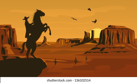 Horizontal cartoon illustration of prairie wild west with cacti and hero of the wild West leaves in decline.