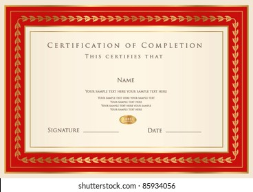 Horizontal certificate of completion (template) with golden pattern and red frame. This design usable for diploma, invitation, gift voucher, coupon, official, ticket or different awards. Vector