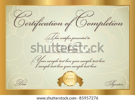 Horizontal Certificate Completion Template Golden Floral Stock