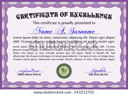 horizontal certificate of excellence template