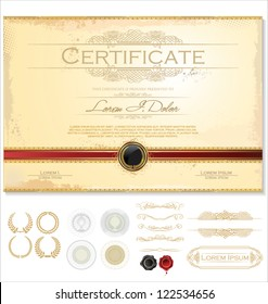 Horizontal certificate template with additional design elements