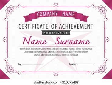 horizontal certificate template,diploma,Letter size ,vector