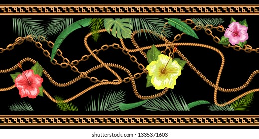 Horizontal chains seamless with tropical flowers. Horizontal seamless border. Vector illustration.