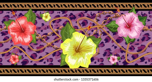 Horizontal chains seamless with tropical flowers and leopard skin. Horizontal seamless border. Vector illustration.