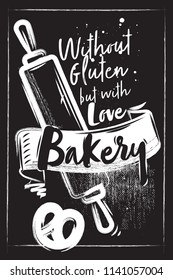 Horizontal Chalk bakery poster. Rolling pin with lettering. Black background