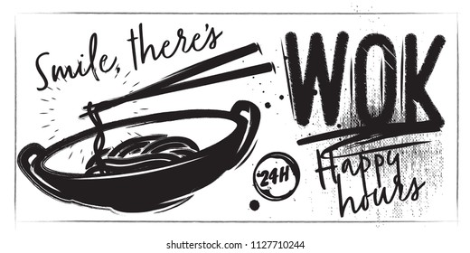 Horizontal Chalk banner black and white with Thai food. Lettering and noodle wok food
