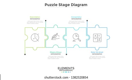 Horizontal chart with 4 connected jigsaw puzzle pieces. Concept of four dependent components or parts of business project. Linear infographic design template. Vector illustration for progress bar.