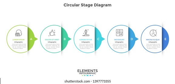 Horizontal chart with 5 paper white elements connected by arrows. Concept of five successive stages of business progress. Modern infographic design template. Vector illustration for presentation.