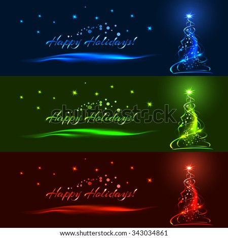 horizontal christmas banner set blue green and red xmas tree stars ribbons - How To Decorate A Christmas Tree With Ribbon Horizontally