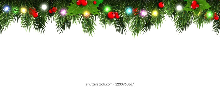 Horizontal Christmas border frame with fir branches, pine cones, berries and lights. Vector illustration.