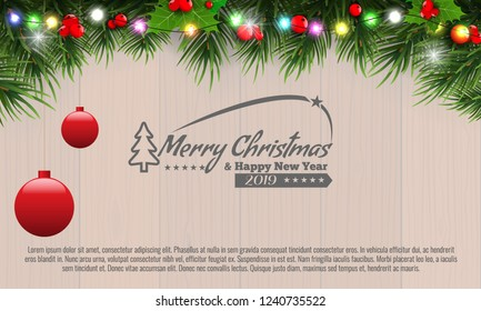 Horizontal Christmas border frame with fir branches, pine cones, berries and lights over wood background. Vector illustration.
