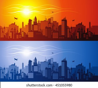 Horizontal cityscape with airplanes, vector illustration. City view with urban elements - office buildings, shopping center, skyscrapers and other houses. Pattern set - abstract sun sunset, night moon