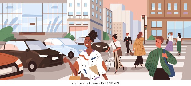 Horizontal cityscape with people crossing road at crosswalks. Panoramic view with pedestrians and cyclists walking the street on zebra. Colored flat cartoon vector illustration of busy traffic in city