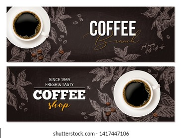 Horizontal coffee banners. Top view cup on blackboard with coffee tree plant. Design for advertising, café or shop
