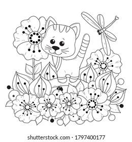 Página de coloreado horizontal para niños y adultos. Ilustración vectorial con flores y una libélula y un gatito de dibujos animados. Fondo blanco-negro para colorear, imprimir en tela o papel.