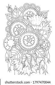 Página de coloreado horizontal para niños y adultos. Ilustración vectorial con flores, hormigas y una oruga de dibujos animados. Fondo blanco-negro para colorear, tatuar, imprimir en tela o papel.