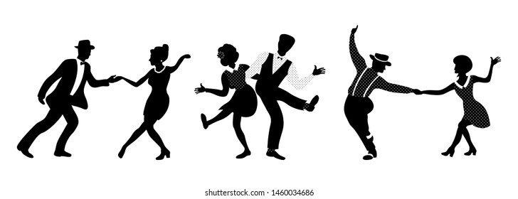 Horizontal composition of three couples. People in 1940s or 1950s style dancing rockabilly, charleston, jazz, lindy hop or boogie woogie. Vector illustration in black and white colors.