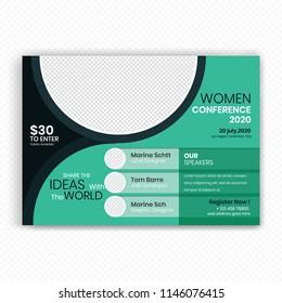 horizontal conference flyer design template women stock vector