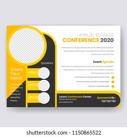 Horizontal Conference flyer design template. Women Leadership Conference Flyer Design , Business or Corporate Conference Flyer Design, with nice background, vector eps10